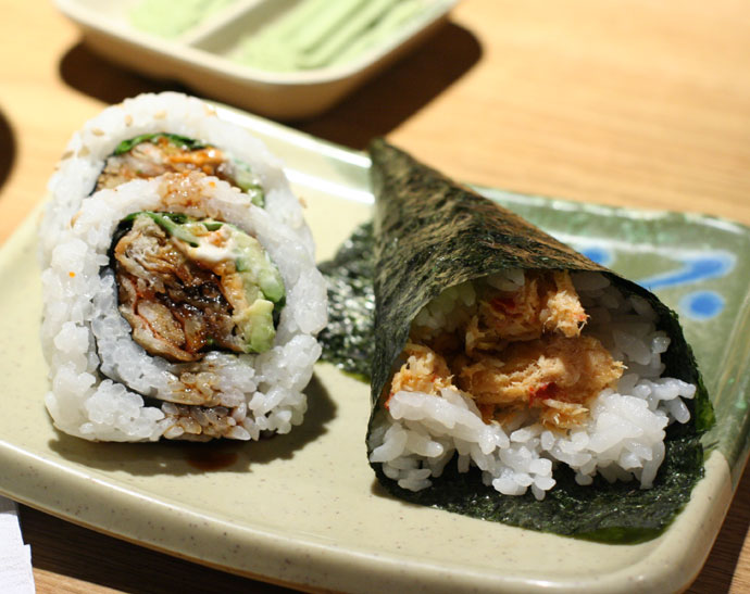 Soft shell crab maki roll, and spicy seafood Japanese cone