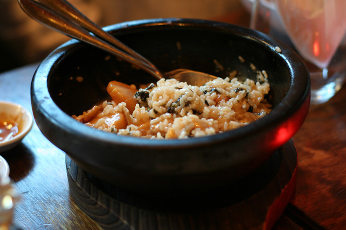 Ishiyaki Seafood Risotto ($8.30) from Toratatsu Japanese Tapas in Vancouver.