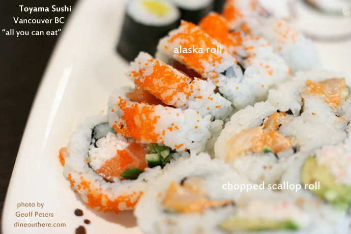 Alaska roll and chopped scallop roll sushi