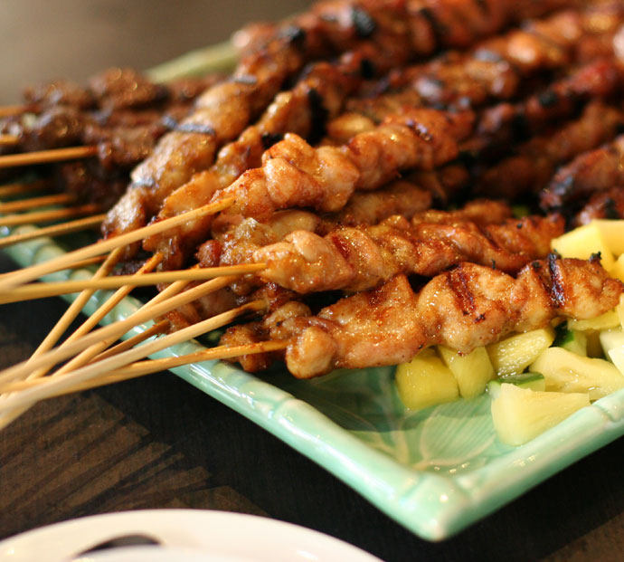 Beef, chicken, lamb, and pork satay skewers