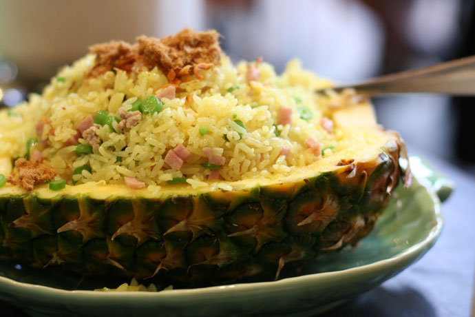 Pineapple Fried Rice with Ham and Chicken ($12.95) from Tropika Restaurant on Robson Street.