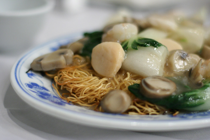 Mixed Seafood Chow Mein ($13.50) from Tsui Hang Village Restaurant in downtown Vancouver BC Canada (Granville Entertainment district).