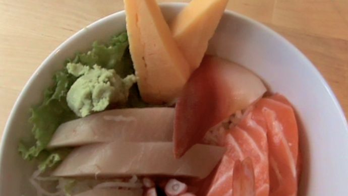 Urban Sushi in downtown Vancouver BC Canada (Business district). Chirashi Don bowl sushi $11.95.