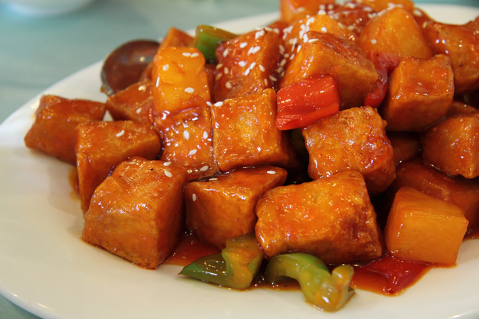 Sweet and Sour Pineapple Delight (vegan) from Whole Vegetarian Cuisine restaurant in Vancouver BC Canada (Main Street).
