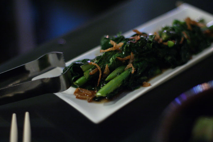 Gai lan (Chinese brocolli) and crisped shallots from Wild Rice restaurant in Vancouver. $7  (side dish)