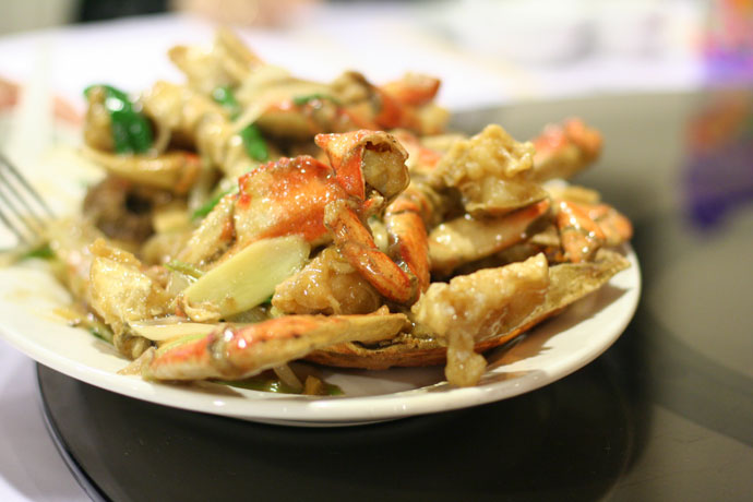 Steamed crab with ginger and green onion sauce