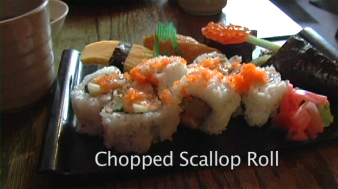 Chopped Scallop roll and assorted sushi from Yamato Sushi Japanese restaurant on Davie Street in downtown Vancouver BC Canada.