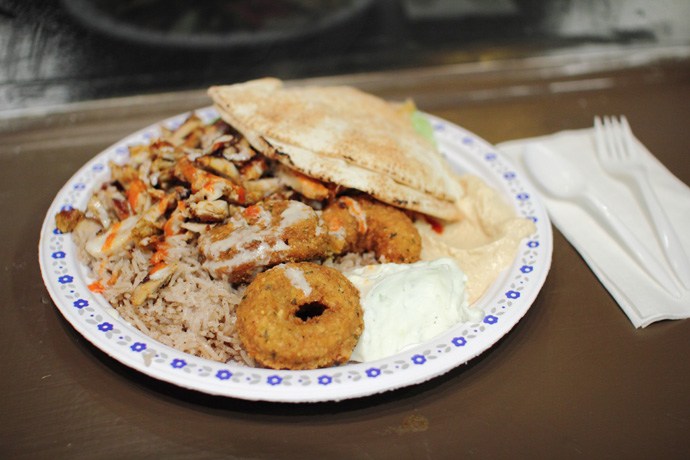 Falafel Shawerma platter from Aladdin Cafe in downtown Vancouver BC Canada.