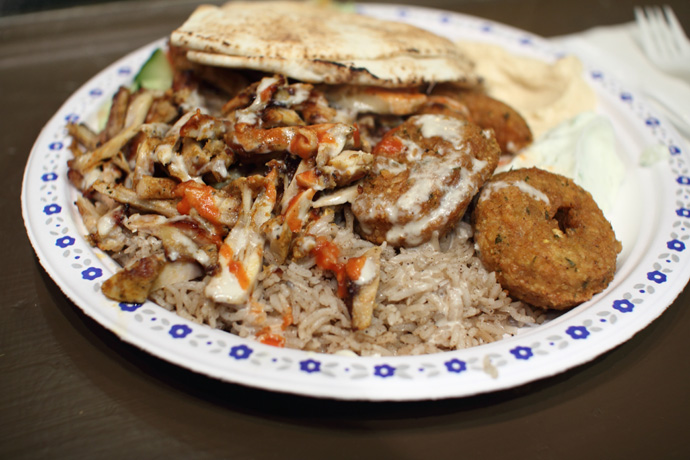 Close up of the chicken in the Middle-Eastern Chicken Shawerma Falafel platter from Aladdin Cafe.