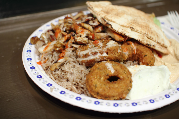 Another photo of the Chicken Shawerma Falafel platter from Aladdin restaurant on Robson Street, Vancouver.