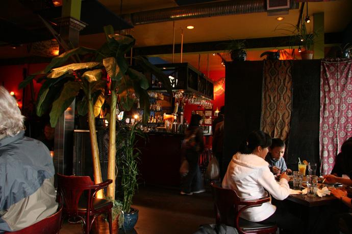 Restaurant interior at Banana Leaf Malaysian Restaurant in Vancouver BC Canada.