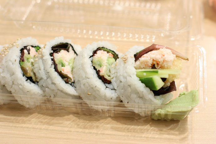 Ebi Ten Roll (around $3) from Ebi Ten Japanese restaurant in Vancouver, BC, Canada.