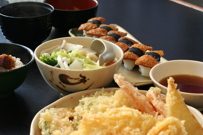 Vegetable Tempura (pictured in front) plus other assorted Japanese dishes (from Fish on Rice Japanese All you can eat buffet restaurant).