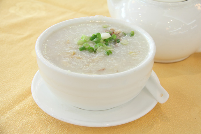 Chinese style Congee from Fraser Court Chinese restaurant in Vancouver BC Canada.