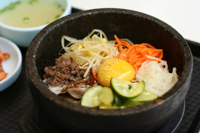 Bibimbap Korean food ($8.50) from H-Mart Market in Vancouver BC Canada - before mixing the ingredients.
