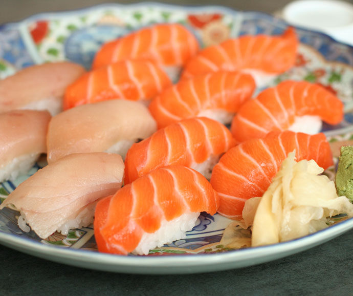 Tuna and Salmon Nigiri Sushi (Tuna: $1.50 per piece, Sockeye Salmon: $2.00 per piece)