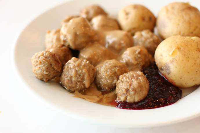Ikea Swedish Meatballs from Ikea in Coquitlam (a suburb of Vancouver BC Canada). Around $7.00.
