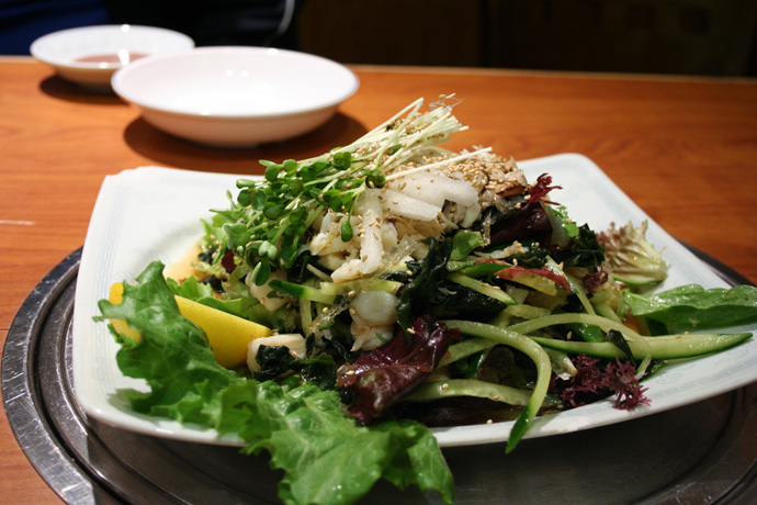 Korean Seafood Salad from Insadong Restaurant in Coquitlam, BC, Canada.