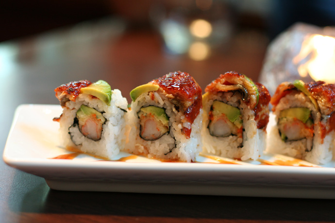 Dragon Roll Sushi from Irashai Grill Japanese Fusion Restaurant in Vancouver BC Canada ($13.50)