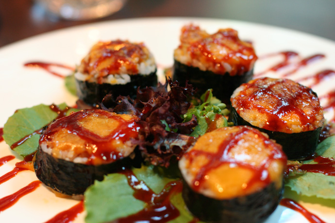 Poison Spider Volcano Sushi ($16.00) from Irashai Japanese Restaurant in Coal Harbor, downtown Vancouver BC Canada.