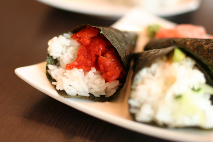 Another shot of the Japanese Sushi Cone Combo from Junsei Japanese Restaurant in Vancouver BC Canada.