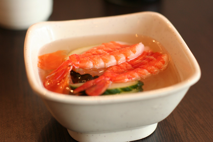 Ebi Sunomono Salad from Junsei River Japanese Restaurant in Vancouver BC Canada ($3.25)