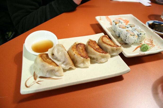 Japanese Gyoza and spicy tuna roll from Ki Sushi in New Westminister.