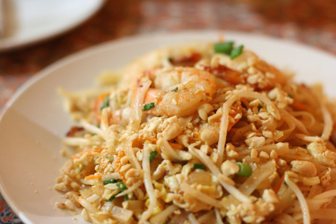 Pad Thai ($12.95) - a national dish of Thailand, served at Little Thailand Restaurant in Port Moody, BC, Canada.