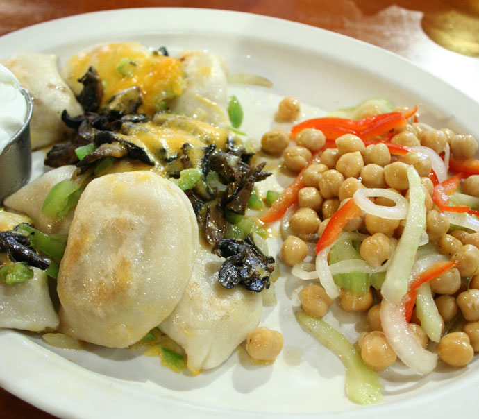 Perogies and chick pea salad