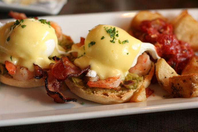 California Eggs Benedict with Shrimp ($12.99) from Milestones Restaurant in Vancouver.