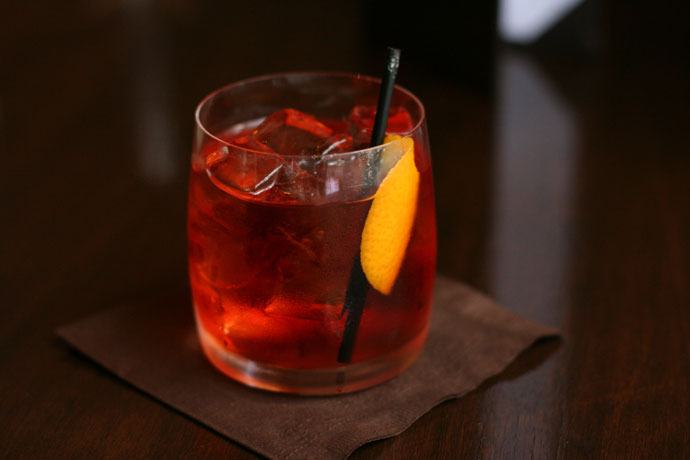 Negroni (drink) - A bitter drink thats great preparation for a meal and an Apertif. Tanqueray gin, Campari, Cinzano Rosso on the rocks.