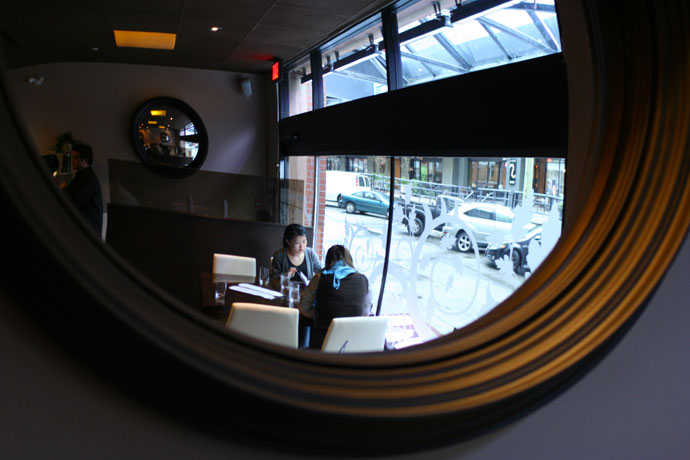 Dining room at r.tl regional tasting lounge restaurant in Vancouver, BC, Canada.