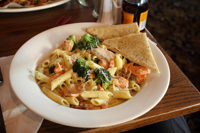 Salmon Pesto Penne from Rosie's on Robson (British Pub-style restaurant in downtown Vancouver BC Canada)