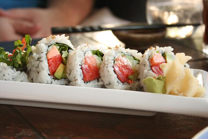 Papaya Avocado Salmon Roll sushi ($5.50) from Sai-z Japanese Restaurant in Vancouver BC Canada.