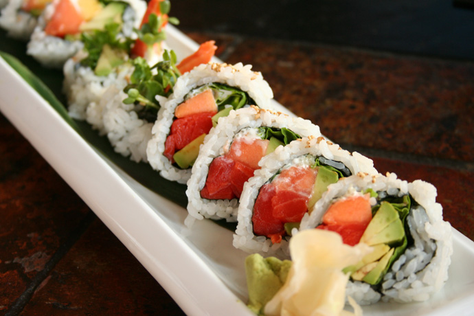 Another shot of the Papaya Avocado Salmon Roll Sushi from Sai-Z Japanese Restaurant in Vancouver BC Canada.
