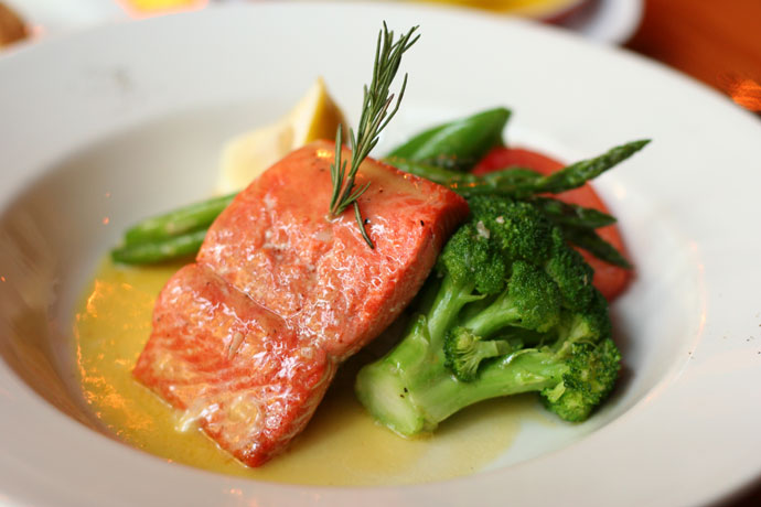 Saumon Sauvage (Wild Salmon entree, $16.99) from Salade De Fruits French restaurant in Vancouver