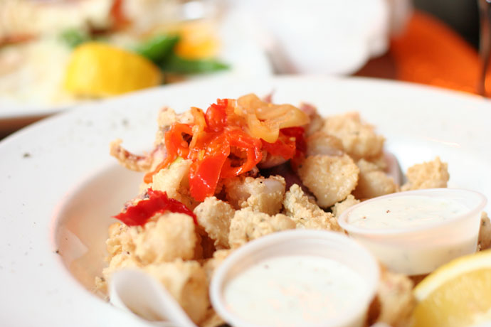 Calamari dish (Calmars à la Nage, $9.99) from Salade De Fruits French restaurant in Vancouver