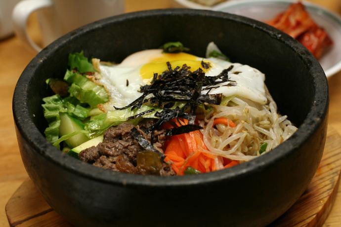 Bibimbap at Seoul Duck Bae Korean restaurant on Kingsway in Vancouver BC Canada.