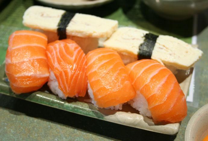 Tomago sushi (egg) and Salmon Sushi