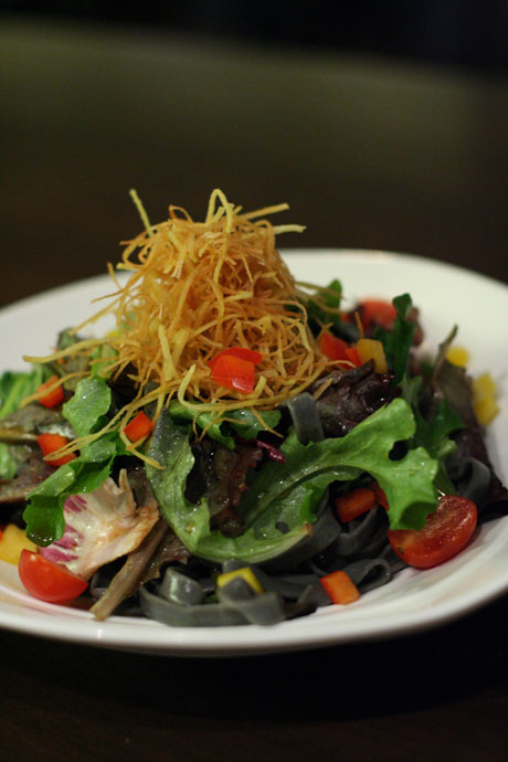 Ika Sumi Pasta ($8.75) - a salad made with squid ink pasta and fresh vegetables, from ShuRaku Japanese restaurant.