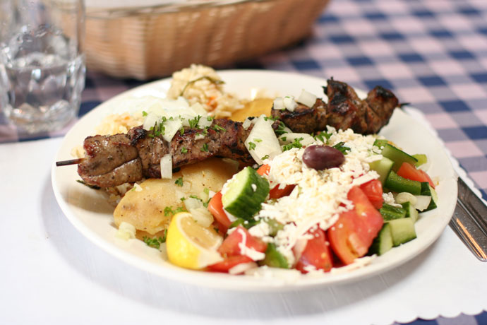 Lamb Souvlakia ($13.99) from Simpatico Greek Restaurant in Kitsilano, Vancouver, BC, Canada.