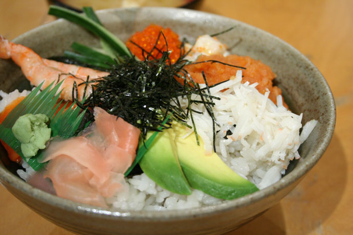 Seafood Don (Japanese seafood on rice)