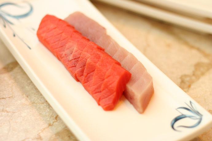 Salmon and tuna sashimi (raw fish)