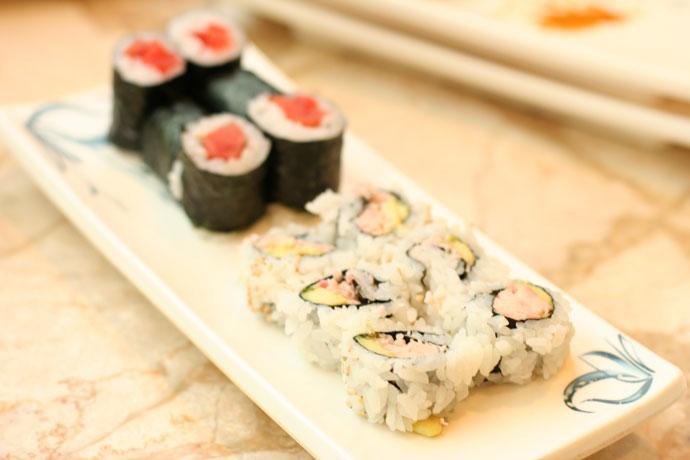California roll and salmon maki sushi
