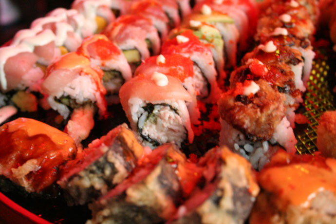 Inventive Japanese sushi specialty rolls
