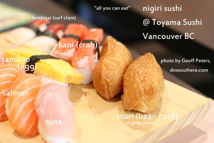 Nigiri sushi from Toyama Japanese Restaurant