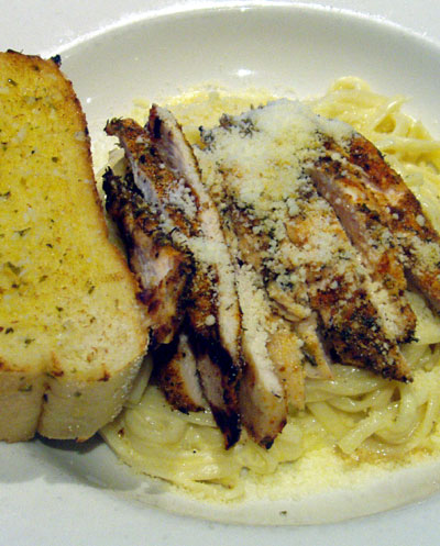 Chicken fettucini and garlic bread