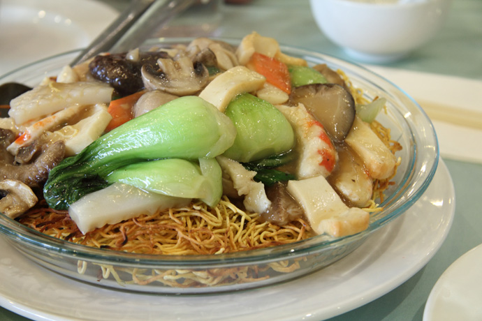 Chef's Special Chow Mein (vegan, with simulated seafood) from Whole Vegetarian Cuisine, a vegetarian Chinese restaurant on Main Street  in Vancouver BC Canada.