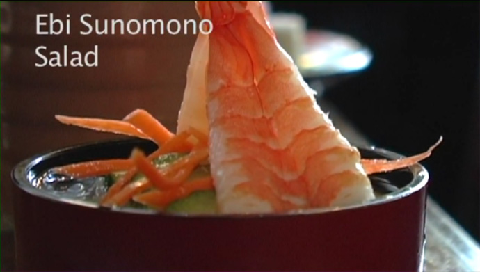 Ebi Sunomono Salad from Yamato Sushi Japanese restaurant on Davie Street in downtown Vancouver BC Canada.